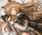 1girl :d animal_ears arknights axe bangs bed bed_sheet blush brown_shorts cat_ears ceobe_(arknights) closed_eyes exion_(neon) hair_between_eyes holding holding_axe long_hair long_sleeves lying on_side open_mouth shorts smile solo