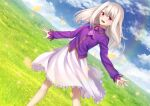 1girl ascot bangs blue_sky blush breasts fate/stay_night fate_(series) gyatto624 hair_between_eyes highres illyasviel_von_einzbern long_hair long_sleeves looking_at_viewer open_mouth purple_shirt red_eyes shirt sidelocks skirt sky small_breasts smile solo white_hair white_skirt