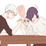 1boy 2girls absurdres anger_vein arm_hug arm_wrestling bangs black_eyes black_shirt blush breasts closed_eyes closed_mouth family father_and_daughter from_side grey_background grey_shirt hair_bun hair_over_one_eye heterochromia highres husband_and_wife kaneki_ichika kaneki_ken kirishima_touka large_breasts looking_at_another mother_and_daughter multicolored_hair multiple_girls no_eyes profile purple_hair red_eyes shirt short_hair simple_background smile speech_bubble table tokyo_ghoul tokyo_ghoul:re toukaairab translation_request two-tone_hair white_hair