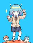 1girl 2boys :| alien andromedako andromedao antennae bangs blue_background blue_hair blue_skirt blunt_bangs blush bob_cut brown_cardigan brown_eyes brown_hair cardigan claw_pose closed_mouth commentary curled_fingers dress_shirt hands_up jitome looking_at_another looking_at_viewer multiple_boys nayutalien nayutan_sei_kara_no_buttai neck_ribbon pleated_skirt red_neckwear ribbon school_uniform shirt shoes short_hair skirt smile solo_focus sparkle terada_tera uwabaki v-shaped_eyebrows white_footwear white_legwear white_shirt