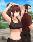 1boy 2girls abs armpits arms_up brown_hair cat_girl edzactly highres multiple_girls original red_eyes solo_focus sports_bra sweat tying_hair