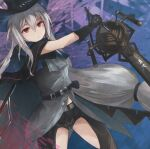 1girl arknights ascot belt black_belt black_cape black_capelet black_gloves black_headwear black_pants breasts cape capelet closed_mouth clothing_cutout commentary cowboy_shot gloves grey_neckwear grey_shirt hair_between_eyes hat highres holding holding_sword holding_weapon infection_monitor_(arknights) kiyakyuu long_hair looking_at_viewer medium_breasts pants red_eyes shirt silver_hair skadi_(arknights) solo strap sword thigh_cutout thighs very_long_hair weapon