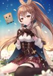 1girl :o absurdres ahoge ankle_boots belt blurry blurry_foreground blush boots breasts brown_belt brown_cloak brown_corset brown_eyes brown_footwear brown_gloves brown_hair brown_legwear cloak dagger dvdarts english_commentary falling_petals flower friend_(nanashi_mumei) frilled_skirt frills gloves gradient gradient_background hair_ornament hairclip hieroglyphics highres hololive hololive_english hood hooded_cloak index_fingers_together kneehighs knife long_hair medium_breasts multicolored_hair nanashi_mumei open_mouth over-kneehighs partially_fingerless_gloves petals ponytail puffy_sleeves red_skirt runes sheath sheathed shirt single_kneehigh single_sock sitting skirt socks streaked_hair thigh-highs twitter_username very_long_hair virtual_youtuber wariza weapon white_shirt