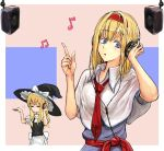 2girls =_= alice_margatroid apron bangs black_headwear black_vest blonde_hair blue_dress blue_eyes border bow capelet collared_capelet commentary_request cookie_(touhou) cowboy_shot dress eyebrows_visible_through_hair hairband hat hat_bow headphones hinase_(cookie) kirisame_marisa listening_to_music long_hair medium_hair multiple_girls musical_note necktie open_mouth outside_border red_hairband red_neckwear red_sash sash short_sleeves speaker touhou uzuki_(cookie) vest waist_apron white_apron white_border white_bow white_capelet witch_hat yma