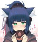 1girl absurdres afterimage animal_ears arknights black_jacket blue_hair blush cat_ears commentary_request doughnut ear_wiggle eating food green_eyes headset heart highres holding holding_food implied_extra_ears jacket jessica_(arknights) long_hair looking_at_viewer motion_lines ponytail portrait sanukiske sidelocks simple_background solo white_background