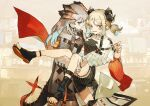 2girls absurdres ankle_strap arknights black_choker black_dress black_footwear black_horse blonde_hair brown_background carrying choker closed_mouth coat collarbone commentary_request cowboy_shot dragon_horns dragon_tail dress earrings highres horns ifrit_(arknights) infection_monitor_(arknights) jewelry kensei_(v2) long_hair looking_at_viewer medium_hair multiple_girls nail_polish orange_hair orange_nails parted_lips princess_carry sandals saria_(arknights) shoes short_twintails sideways_glance silver_hair sneakers striped striped_dress stud_earrings tail toenail_polish toenails twintails white_coat