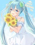 1girl :d bangs bare_shoulders blue_eyes blue_hair bouquet clover_hair_ornament commentary dress english_commentary eyebrows_visible_through_hair flower four-leaf_clover_hair_ornament hair_between_eyes hair_ornament hair_ribbon happy_birthday hatsune_miku long_hair looking_at_viewer miyanome object_hug open_mouth ribbon sleeveless sleeveless_dress smile solo twintails very_long_hair vocaloid white_dress white_ribbon yellow_flower