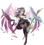 1girl ahoge ark_order artist_request bangs black_capelet black_footwear black_legwear black_skirt boots breasts capelet energy_wings falling_feathers feathers gloves gold_trim grey_hair high-waist_skirt large_breasts long_hair long_sleeves official_art pantyhose puffy_long_sleeves puffy_sleeves purple_wings rectangular_eyewear red-framed_eyewear shirt skirt solo tachi-e thigh-highs thigh_boots transparent_background vedrfolnir_(ark_order) weapon white_gloves white_shirt wings yellow_eyes