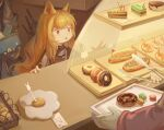 1girl 2others :o absurdres animal_ears arknights black_jacket brown_hair cake cake_slice ceobe_(arknights) chinese_commentary doctor_(arknights) dog_ears doughnut food highres holding_wallet hot_dog jacket long_hair mixed-language_commentary multiple_others red_eyes rlonely_zhuazi solo upper_body weapon weapon_on_back