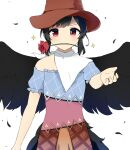 1girl antidote arm_up bangs bare_shoulders black_hair blue_dress brown_dress brown_headwear closed_mouth cowboy_hat dress eyebrows_visible_through_hair feathers hand_up hat horse_tail kurokoma_saki looking_at_viewer multicolored multicolored_clothes multicolored_dress off_shoulder orange_dress pink_dress plaid plaid_dress puffy_short_sleeves puffy_sleeves red_eyes scarf short_hair short_sleeves simple_background smile solo star_(symbol) tail touhou white_background white_neckwear white_scarf wings