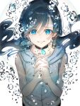 1girl air_bubble amano_hina_(tenki_no_ko) bare_arms black_choker black_hair blue_eyes bubble choker closed_mouth collarbone commentary_request hands_clasped highres hood hoodie lens_flare long_hair nanaponi own_hands_together simple_background sleeveless sleeveless_hoodie solo tearing_up tears tenki_no_ko twintails upper_body white_background white_hoodie