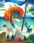 azurill beach_umbrella blush clouds commentary_request day eating food gen_2_pokemon gen_3_pokemon gen_4_pokemon gen_7_pokemon glaceon green_eyes hatted_pokemon highres looking_to_the_side marill mouth_hold orange_headwear outdoors pokemon pokemon_(creature) popsicle popsicle_stick purobe pyukumuku sky standing toes umbrella wailord
