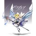 1girl absurdres animal_ears arknights black_footwear black_gloves blonde_hair blue_dress blue_hairband cape chinese_commentary closed_mouth commentary_request copyright_name dress earpiece fox_ears fox_girl fox_tail full_body gloves green_eyes grey_background hair_rings hairband highres holding holding_staff id_card kyuubi looking_at_viewer medium_hair multicolored_hair multiple_tails off-shoulder_dress off_shoulder originium_arts_(arknights) oripathy_lesion_(arknights) pantyhose shadow single_glove smile solo staff suzuran_(arknights) tail two-tone_background two-tone_hair waist_cape white_background white_cape white_dress white_hair white_legwear whter wrist_cuffs