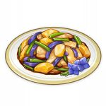 artist_request commentary english_commentary flower food food_focus genshin_impact lowres mushroom no_humans official_art plate potato purple_flower spring_onion still_life third-party_source transparent_background