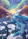 :d absurdres blue_eyes clouds commentary_request day eevee fang gen_1_pokemon gen_4_pokemon glaceon highres looking_at_viewer looking_back no_humans nullma open_mouth outdoors pokemon pokemon_(creature) sky smile tongue tree