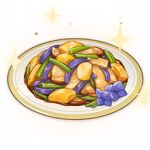 artist_request commentary english_commentary flower food food_focus genshin_impact lowres mushroom no_humans official_art plate potato purple_flower sparkle spring_onion still_life third-party_source transparent_background