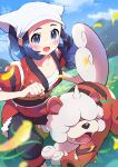 1girl :d absurdres akari_(pokemon) black_pants blue_hair blurry blush clenched_hand clouds collarbone commentary_request day eyelashes floating_hair grass grey_eyes head_scarf highres hisuian_form hisuian_growlithe jacket leaves_in_wind mountain open_mouth outdoors pants pokemon pokemon_(creature) pokemon_(game) pokemon_legends:_arceus pon_yui red_jacket shiny shiny_hair shoes sidelocks sky smile tongue white_headwear