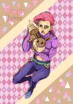 anger_vein argyle argyle_background belt blue_footwear blue_pants brown_eyes calling clover club_(shape) creatures_(company) denim diamond_(shape) eevee freckles game_freak gen_1_pokemon green_belt jeans jojo_no_kimyou_na_bouken nintendo pants pink_hair pink_shirt pokemon purple_shirt shirt shoes spade_(shape) tail triangle vinegar_doppio