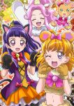 3girls :d ^_^ animal_ears animal_hands arm_up asahina_mirai bear_ears bell black_gloves bow bowtie brown_gloves cat_ears closed_eyes cosplay crop_top food-themed_hair_ornament fur-trimmed_gloves fur_trim gloves hair_bow hair_ornament halloween halloween_costume hanami_kotoha hanzou highres horns izayoi_liko kigurumi layered_skirt looking_at_viewer mahou_girls_precure! midriff miniskirt mofurun_(mahou_girls_precure!) mofurun_(mahou_girls_precure!)_(cosplay) multiple_girls navel open_mouth orange_skirt orange_sleeves paw_gloves pink_bow pleated_skirt precure pumpkin_hair_ornament red_bow red_neckwear short_sleeves single_horn skirt smile stomach stuffed_animal stuffed_toy teddy_bear two-tone_skirt unicorn_costume violet_eyes white_skirt