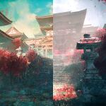 absurdres architecture building clouds cloudy_sky east_asian_architecture fog grass highres hisamesy huge_filesize no_humans original outdoors overgrown rope scenery shrine sky split_screen stairs stone_lantern stone_stairs stone_walkway torii tree