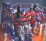 1girl 2boys arcee autobot blue_eyes casey_w._coller clenched_hand comic_cover cropped decepticon energy_sword english_commentary glowing glowing_eyes gun holding holding_gun holding_sword holding_weapon joana_lafuente looking_up mecha multiple_boys no_humans optimus_prime science_fiction soundwave standing sword the_transformers_(idw) transformers visor weapon