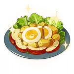 apple artist_request commentary egg english_commentary food food_focus fruit genshin_impact lettuce lowres no_humans official_art plate potato salad sparkle still_life third-party_source transparent_background