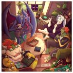 absurdres animal_slippers book bowser bunny_slippers claws coffee_table colored_skin couch enderman food ganondorf green_skin highres horns jacket king_k._rool looking_at_another nintendo_switch no_nipples one_piece orange_hair palutena phonograph pizza plant potted_plant ridley rug sephiroth sharp_teeth slippers straw_hats_jolly_roger super_smash_bros. tank_top teeth track_jacket trait_connection truejekart