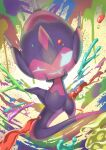 commentary_request gen_7_pokemon highres looking_at_viewer no_humans one_eye_closed paint paint_splatter poipole pokemon pokemon_(creature) purobe shiny shiny_skin solo spikes tongue tongue_out ultra_beast