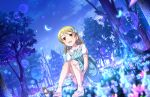 1girl animal artist_request bangs blue_dress blush bow bracelet brown_eyes clouds collarbone collared_dress crescent_moon dress drill_hair earrings eyebrows_visible_through_hair flower forest frilled_dress frills grass hair_bow idolmaster idolmaster_cinderella_girls idolmaster_cinderella_girls_starlight_stage jewelry light_brown_hair lolita_fashion looking_up moon morikubo_nono nature night night_sky official_art outdoors parted_bangs puffy_short_sleeves puffy_sleeves raised_eyebrows sandals short_sleeves sitting sky smile solo squirrel star_(sky) starry_sky striped tree vertical-striped_dress vertical_stripes
