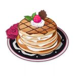 artist_request berry chocolate commentary dessert english_commentary flower food food_focus genshin_impact leaf lighter-than-air_pancake_(genshin_impact) lowres mint no_humans official_art pancake plate red_flower red_rose rose still_life third-party_source transparent_background whipped_cream