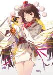 1girl alternate_costume arrow_(projectile) black_hair black_wings brown_eyes camera ceremonial_new_year earrings elise_(piclic) feathered_wings feathers hat highres holding holding_camera japanese_clothes jewelry kimono leaf_earrings light_smile long_sleeves looking_at_viewer obi one_eye_closed pom_pom_(clothes) ribbon-trimmed_sleeves ribbon_trim sash shameimaru_aya short_hair solo tokin_hat touhou white_kimono wide_sleeves wings