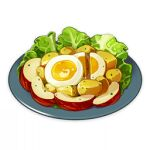 apple artist_request commentary egg english_commentary food food_focus fruit genshin_impact lettuce lowres no_humans official_art plate potato salad still_life third-party_source transparent_background
