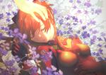 1girl absurdres bangs breasts closed_eyes commentary flower flower_request hand_on_another's_head highres huge_filesize killert_0401 lips long_hair neon_genesis_evangelion orange_hair out_of_frame parted_lips plugsuit sleeping small_breasts solo_focus souryuu_asuka_langley tearing_up upper_body white_background