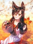1girl absurdres animal_ears autumn autumn_leaves bangs brown_hair dress dungeon_toaster eyebrows_visible_through_hair fang food fruit gem grapes hair_between_eyes hands_up highres huge_filesize imaizumi_kagerou jewelry leaf long_hair long_sleeves looking_at_viewer maple_leaf mushroom open_mouth orange_eyes red_dress red_nails shadow smile solo tail touhou tree white_dress white_sleeves wide_sleeves wolf_ears wolf_tail