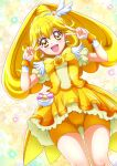 1girl :d bangs bike_shorts blonde_hair cure_peace double_v earrings eyebrows_visible_through_hair floating_hair from_below hair_between_eyes hanzou heart heart_earrings highres jewelry layered_skirt long_hair looking_at_viewer miniskirt open_mouth precure shiny shiny_hair short_shorts short_sleeves shorts shorts_under_skirt skirt smile smile_precure! solo thigh_gap v v_over_eye very_long_hair wrist_cuffs yellow_eyes yellow_neckwear yellow_shorts yellow_skirt