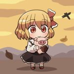 1girl ^_^ bangs bow chestnut closed_eyes closed_mouth eyebrows_visible_through_hair falling_leaves full_body hair_bow holding leaf long_sleeves outdoors pig red_bow red_eyes red_footwear rokugou_daisuke rumia signature smile standing touhou touhou_cannonball white_legwear