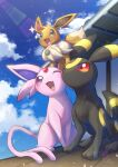 :d absurdres blush clouds commentary_request day eevee espeon fang gen_1_pokemon gen_2_pokemon highres no_humans nullma one_eye_closed open_mouth outdoors pokemon pokemon_(creature) sky smile sparkle tongue umbreon violet_eyes