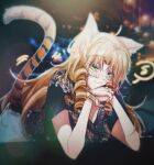 1girl ahoge animal_ears arknights bespectacled black_shirt commentary drill_hair eighth_note eyebrows_visible_through_hair glasses green_eyes head_rest long_hair looking_at_viewer musical_note official_alternate_costume orange_hair shirt solo spoken_musical_note swire_(arknights) tail tiger_ears tiger_girl tiger_tail twin_drills watch watch wu_you
