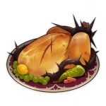 artist_request bell_pepper chicken_(food) commentary cuts dinner_of_judgment_(genshin_impact) english_commentary food food_focus fruit genshin_impact injury lemon lowres no_humans official_art peas pepper plate still_life third-party_source thorns transparent_background