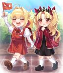 2girls ahoge backpack bag blonde_hair blush closed_eyes crying crying_with_eyes_open day ereshkigal_(fate) eyebrows_visible_through_hair fate/grand_order fate_(series) flag flower full_body hair_bun highres holding holding_flag holding_hands kneehighs long_hair long_sleeves looking_at_another mini_flag multiple_girls nero_claudius_(fate) open_mouth outdoors red_eyes rose shoes skirt tears teeth tongue walking yayoi_maka younger