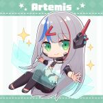1girl android artemis_rs08 black_pants blue_hair character_name chibi closed_mouth commentary_request crop_top full_body glowing green_eyes grey_footwear grey_hair hair_ornament hairclip headgear hitsuki_rei holographic_monitor indie_virtual_youtuber joints layered_sleeves long_hair long_sleeves multicolored_hair navel pants redhead robot_joints shirt shoes short_over_long_sleeves short_sleeves smile solo sparkle star_(symbol) streaked_hair striped striped_background vertical_stripes very_long_hair virtual_youtuber white_shirt