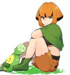 1girl arm_on_knee bangs belt black_belt black_hair black_shirt boots budew commentary_request cutoffs dot_nose from_side gardenia_(pokemon) gen_4_pokemon green_footwear looking_at_viewer midriff mituyota_76 multicolored_hair on_ground orange_eyes orange_hair pokemon pokemon_(creature) pokemon_(game) pokemon_dppt poncho shirt shorts sidelocks simple_background solo_focus two-tone_hair white_background