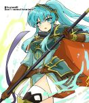 1girl aqua_eyes aqua_hair armor bangs belt breastplate brown_gloves cape cosplay eirika_(fire_emblem) ephraim_(fire_emblem) ephraim_(fire_emblem)_(cosplay) eyebrows_visible_through_hair fire_emblem fire_emblem:_the_sacred_stones fire_emblem_heroes gloves holding holding_lance holding_polearm holding_weapon lance long_hair looking_at_viewer official_alternate_costume polearm ponytail shoulder_armor sidelocks skirt solo thigh-highs twitter_username very_long_hair weapon white_background yukia_(firstaid0)