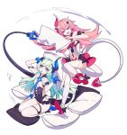 2girls :d bangs bare_shoulders black_gloves blue_eyes food food_in_mouth full_body gloves hair_between_eyes hair_ornament holding holding_pillow honkai_(series) honkai_impact_3rd horns liliya_olenyeva long_hair looking_at_another mango_cat multiple_girls open_mouth pillow pink_hair popsicle rozaliya_olenyeva seiza shoe_soles siblings single_horn sitting smile tail thick_eyebrows thigh-highs twins v-shaped_eyebrows white_background white_legwear