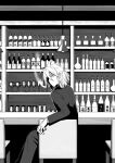 1boy 3d_background bar caffein ceiling_light chair commentary formal from_behind greyscale honne_dell indoors looking_at_viewer looking_back male_focus monochrome shelf sitting smoking suit vocaloid voyakiloid