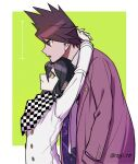 2boys arms_around_neck arms_up bangs black_hair brown_hiar checkered checkered_neckwear checkered_scarf commentary_request dangan_ronpa_(series) dangan_ronpa_v3:_killing_harmony facial_hair from_side frown goatee green_background hand_in_pocket head_on_head highres jacket long_sleeves male_focus momota_kaito multiple_boys nagi_to_(kennkenn) open_mouth ouma_kokichi pink_jacket scarf space_print spiky_hair starry_sky_print twitter_username violet_eyes white_background white_jacket