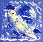 acrylic_paint_(medium) animal animal_focus artist_name bird black_eyes blank_eyes blue_background blue_bow blue_ribbon blue_theme blush_stickers bow clothed_animal clouds commentary_request crescent from_behind full_body gem highres no_humans original painting_(medium) parakeet partial_commentary pearl_(gemstone) ribbon seashell see-through shell signature star_(symbol) susutouka traditional_media veil water waves