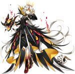 1girl android artist_request code:_antithese_(elsword) cracked_skin crown drone earpiece electricity elsword eve_(elsword) facial_mark feathers forehead_jewel frills full_body half-closed_eyes hand_in_hair highres juliet_sleeves long_sleeves looking_at_viewer moby_(elsword) official_art puffy_sleeves rectangle remy_(elsword) short_hair_with_long_locks smile transparent_background wavy_hair