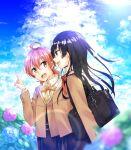 ahoge bag black_hair clouds flower highres hydrangea koito_yuu nanami_touko orange_hair rainbow school_uniform sky sunlight upper_body yagate_kimi_ni_naru