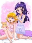 2girls :d ahoge asahina_mirai barefoot bed_sheet black_hairband blonde_hair blue_camisole blue_skirt breasts camisole closed_mouth collarbone covered_nipples hair_brushing hairband hanzou izayoi_liko kneeling long_hair mahou_girls_precure! miniskirt mofurun_(mahou_girls_precure!) multiple_girls open_mouth panties pillow pink_camisole precure purple_hair red_eyes see-through shiny shiny_hair short_hair sitting skirt small_breasts smile stuffed_animal stuffed_toy teddy_bear tied_hair underwear underwear_only very_long_hair violet_eyes white_panties
